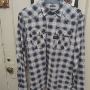 G-Star Raw blue/white plaid L/S shirt XL